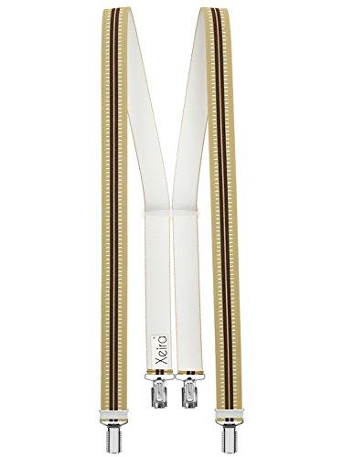 Bretelles de haute qualité pour Femmes/Hommes avec 4 CLIPS extra fort 35mm de large en 10 couleur design differentes - Fabriqué en Allemagne (125cm, B