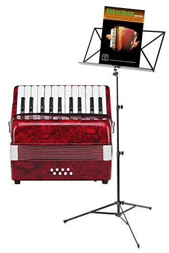 Classic Cantabile Secondo Kinder Akkordeon 8 Bass Set (Kinder-Akkordeon mit 8 Bässen, inkl. Gurt, Tasche, Notenständer & Schule) Rot