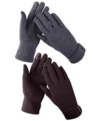 Aibrou 2 Paar Touchscreen Handschuhe Damen gefüttert Winterhandschuhe winddicht Fahrradhandschuhe Frauen Reithandschuhe Winter Warm Strickhandschuhe mit Fleecefutter unisex Geschenck(Grau+Kaffee)