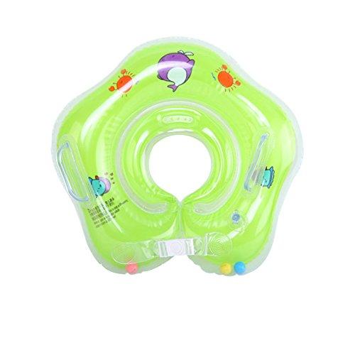 E-db Flotador Cuello Bebe Ajustable Inflable Doble Airbag Flotador Cuello para 1-18 Meses Bebé (Verde)