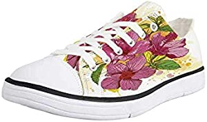 Canvas Sneaker Low Top Shoes,Floral, Hibiscus Flower Bouquet Exotic Elegance Watercolor Art