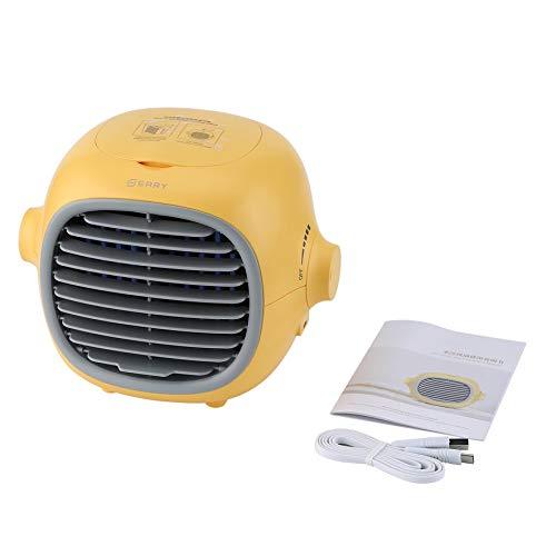 Rouku Heizlufter,Lüfter Handnebelventilator USB wiederaufladbarer batteriebetriebener Nebelventilator Tragbarer persönlicher Lüfter Sprühflasche Wasser (gelb)