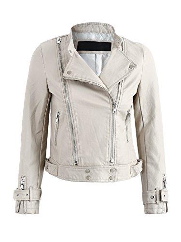 Simplee Women's Basic PU Faux Leather Short Motorcycle Jacket Coat Outwear Zipper,Beige,0/2, S
