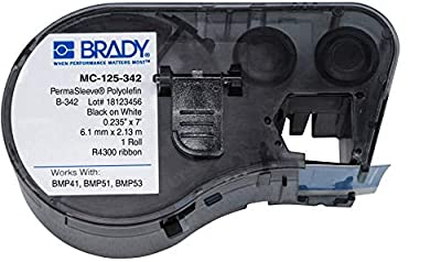 "Brady - 143223 MC-125-342 Polyolefin B-342 Black on White Label Maker Cartridge, 7' Width x 15/64"" Height, For BMP51/BMP53 Printers"