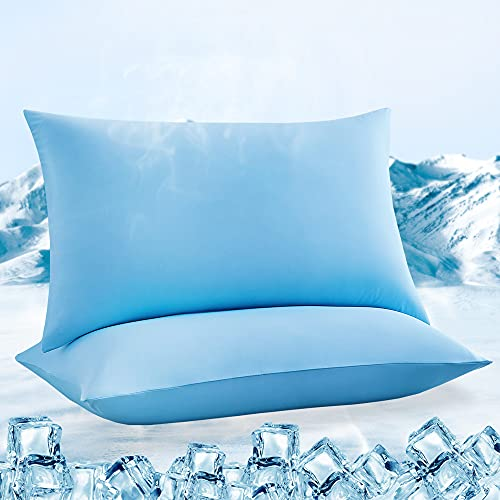 LUXEAR Pillowcases, 2 Pack Ultra Cooling Pillowcases with Japanese Q-max 0.55 Arc-Chill Cooling Fiber, Fit Standard & Queen Size Pillows, Anti-Static Perfect for Hair/Skin, Night Sweat-Blue