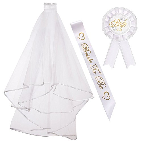 ResPai Hen Do Party Accessories Bride To Be Sash Velo de Novia + Bride to be Insignia Liga Pancarta para Disfraces de Fiesta de Despedida de Soltera Novia a Ser Velo Corto Gallina Noche 3 Pieces