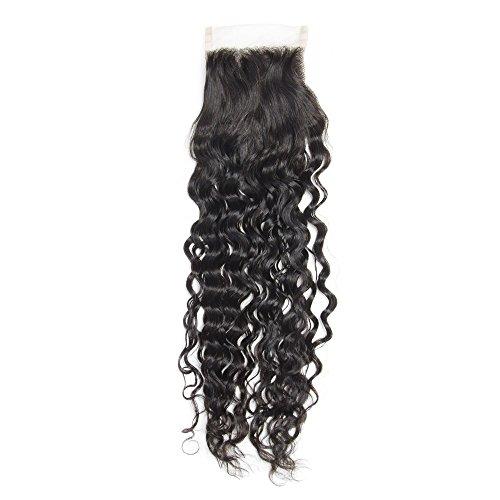 """Mila Bresilienne Vierge Naturel Cheveux Lace Closure 100% Humain Cheveux Boucle Top Closure Noir Hair 10""""/25cm"""