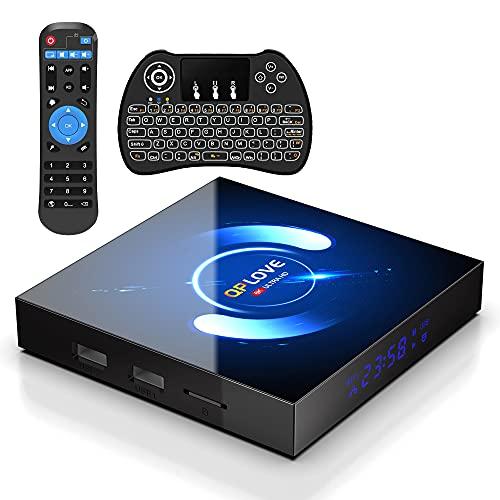 Android TV Box 10.0 mit Minitastatur 【4G+64G】 QPLOVE Q6 Smart TV Box mit Quad-Core H616 BT 5.0 WiFi 2.4G/5G/ 100M LAN, 6K Set Top tv Box Andorid 10.0 [2021 Neueste]