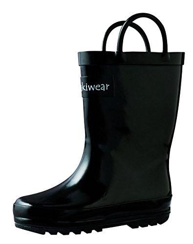 OAKI Kids Waterproof Rain Boots with Easy-On Handles, Jet Black, 4T US Toddler