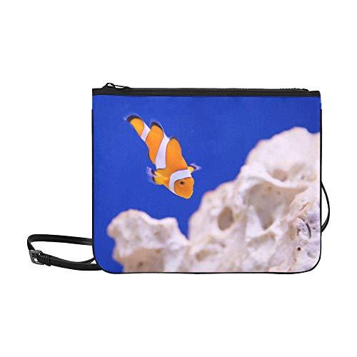N\A Vintage Clutch Bag Anemone Tier Aquarium Clown Fisch Marine Ocean verstellbare Schultergurt Handtaschen für Frauen Mädchen Damen Cross-Body Umhängetasche Mode Waschtasche