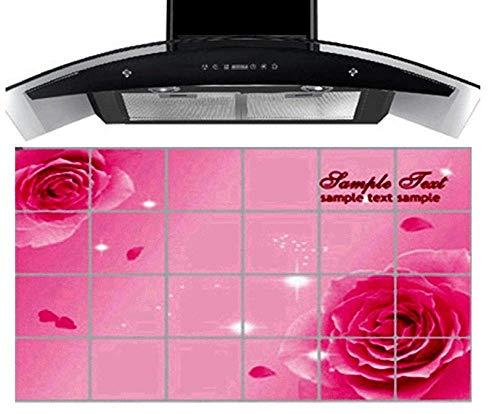 Aufkleber Küche Dekor Wandbild Fliesen Aufkleber Kleber Rote Rose Blumen, Vinyl Küche Wasserdicht Aufkleber90 Cm X60 Cm