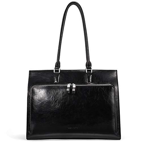 BOSTANTEN Leder Aktentaschen Damen 15.6 Zoll Laptoptaschen Frauen Businesstasche Schultertasche mit Top Handle Schwarz