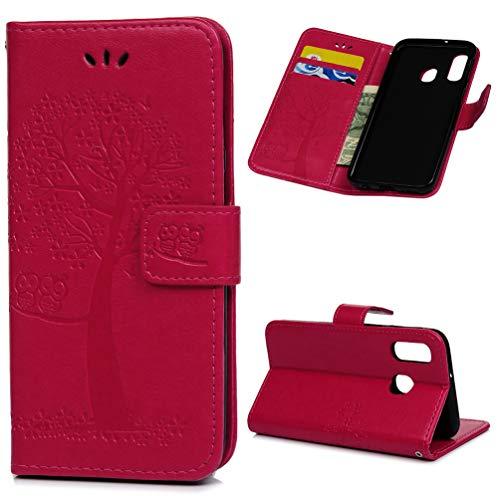 Archi A40 Hülle Eule Case Kompatibel mit Samsung Galaxy A40 HandyHülle Leder Flipcase Schutzhülle Brieftasche Flipcover Tasche Ständer Magnetverschlusss Kartenfach Handytasche Rose rot