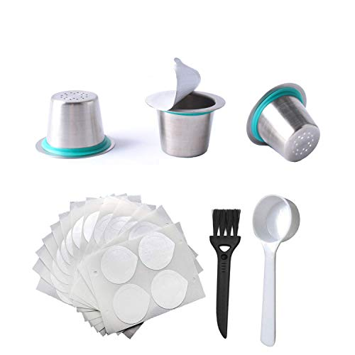 Reusable Coffee Pods for Nespresso Stainless Steel Reusable Coffee Pods, 120pcs Self Adhesive Capsules Foil Seals with Brush, Spoon forNespresso Machines by Poweka