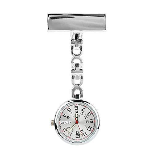 Zwini Reloj de la Enfermera con Clip Colgantes de Cuarzo de Bolsillo médico Semana Reloj y Calendario del diseño de la Broche de la Enfermera Fob médico Reloj Luminoso Cuidado de la Salud (Plata)