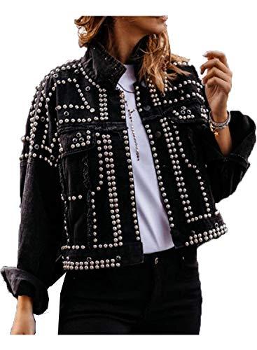 Kirnapci Mujeres Mezclilla Chaqueta Abrigo Cuentas Motocicleta Pantalones Cortos Cortos Cortos Cowboy Chaqueta Chaqueta Negro S