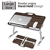 Laptop Desk Stand, Kavalan Portable Laptop Bed Tray Table with Top Handle, Height & Angle Adjustable Sit and Stand Desk, Foldable Bed Desk for Reading on Couch – Black Teak/Large