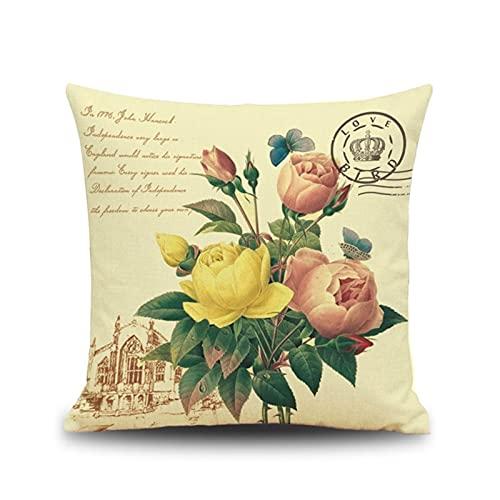 KnBoB Funda Almohada Amarillo Rosado Verde Flor de Camelia 45x45 cm Funda de Almohada de Lino Cuadrado - Estilo 5