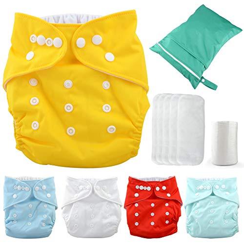 Moonvvin Baby-Windeln, waschbar, verstellbar, wiederverwendbar, 5 Windeln + 5 Einlagen + 100 Einweg-Windeln + 1 Wickeltasche, einfarbig, Einheitsgröße