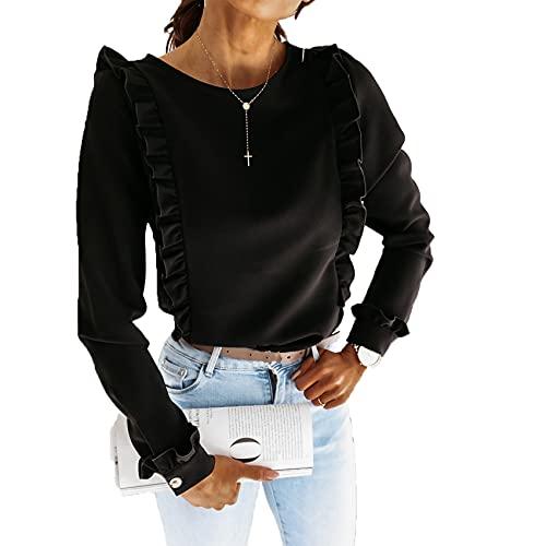 Primavera Y Verano, Cuello Redondo para Mujer, Color SóLido, Plisado, BotóN Trasero, Camisa De Manga Larga, Camiseta Informal Ajustada, Camiseta para Mujer