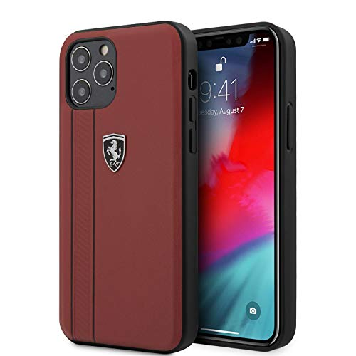Ferrari Phone Case for iPhone 12 and iPhone 12 Pro Genuine Leather Hard Case Off Track with Contrasted Stitched Stripe and Embossed Lines