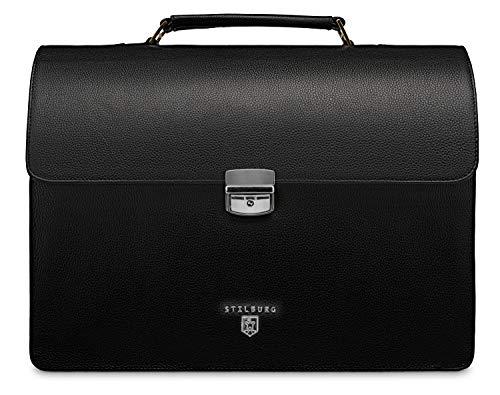 STILBURG aktetas laptoptas 15 inch van leer | Model: Charles, Silver Line. (zwart) - 4250918930357