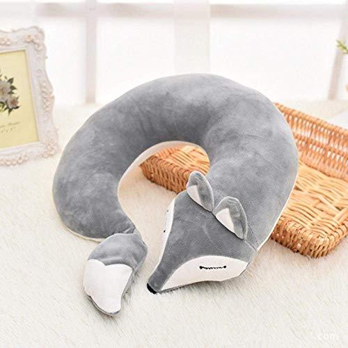Pillow Mooie Fox Animal Cotton Pluche U vorm nekkussen auto reizen Thuis Pillow Nap Kussen Health Care met Masker Eye, rode vos, 30x30x8CM aijia (Color : Gray Fox)
