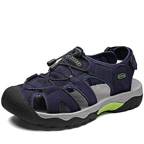 VTASQ Sandalias Hombre Verano Piel, Aire Libre Deportivas Playa Antideslizantes Zapatos Senderismo Sandalias con Punta Cerrada Zapatos de Senderismo Azul Oscuro 42EU