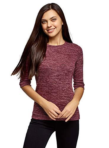 oodji Ultra Damen Sweatshirt mit Rundhalsausschnitt, 3/4-Arm und Lurex, Rot, DE 36 / EU 38 / S