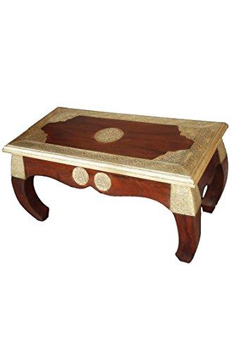 Marokkanischer Wohnzimmertisch Couchtisch aus Holz massiv Kabul 80cm   Vintage Tisch aus Massivholz mit Messing verziert für Ihre Wohnzimmer   Niedriger Orientalischer Sofatisch Massivholztisch Braun