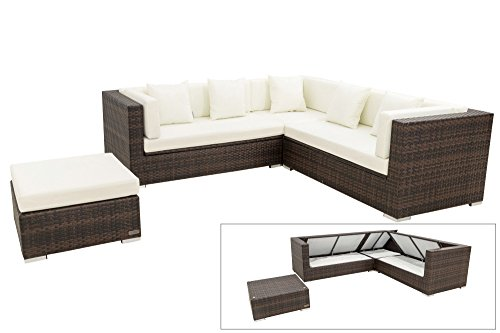 OUTFLEXX XXL Lounge Sofaset inkl. Hocker/Beistelltisch aus Polyrattan in braun marmoriert für 6 Personen, mit Polster-Kissen und Boxfunktion, Loungemöbel, Loungegruppe, Lounge-Set in zeitlosem Design