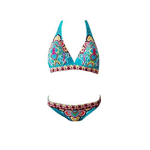 Embryform Floral de Las Mujeres de la Vendimia de impresión Totem Empuja hacia Arriba Atractivo de baño Bikini