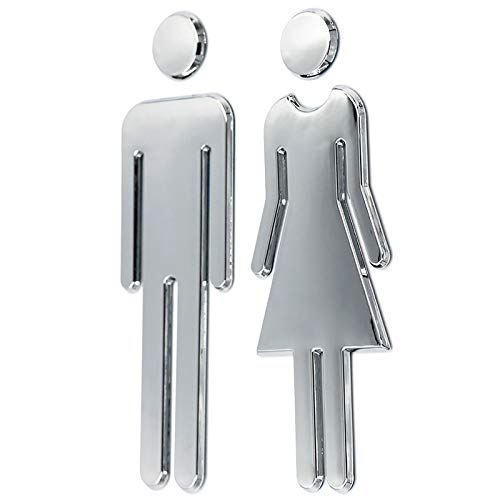 RJWKAZ Acrylic Adhesive Backed Mens and Womens Bathroom Sign 7.8 (Silver)