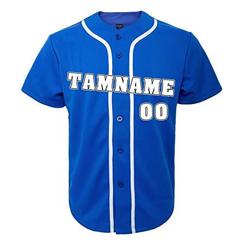 TopTie Custom Design Herren Baseball Trikot Vollknopf-Blau Weiß-S
