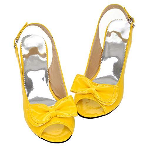 LUXMAX Damen Slingback Kitten Heels Peeptoe Pumps mit Schleife Lack Stiletto Schuhe Kleiner Absatz