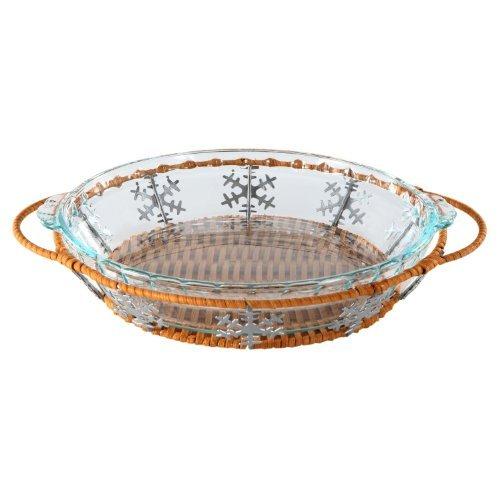 Pyrex 9.5 Snowflake Pie Plate Basket Set by Pyrex