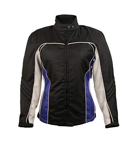 Zerimar KENROD Chaqueta de Motorista con Protecciones de MUJER Chaqueta para Moto de Cordura Color Negro azul gris Talla XL