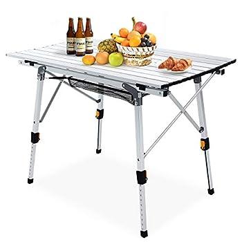 Table de Camping Pliable Table de Pique-Nique en Aluminium avec Nappe réglable en Hauteur, utilisée pour Le Camping, Le Jardin, la randonnée en Plein air