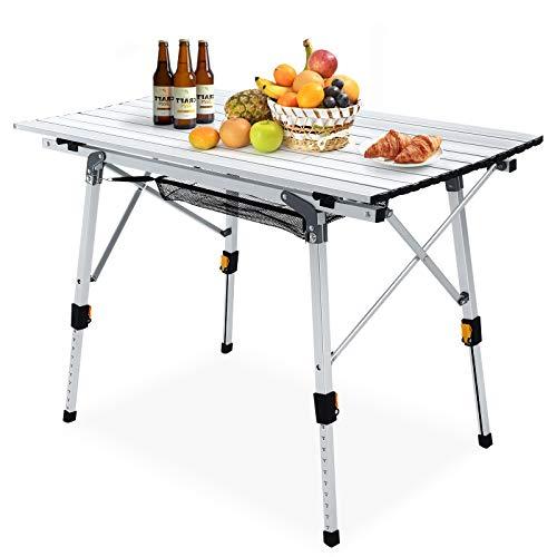 Mesa Plegable para Acampar Mesa de Picnic de Aluminio con Mantel Ajustable en Altura, Utilizada para...