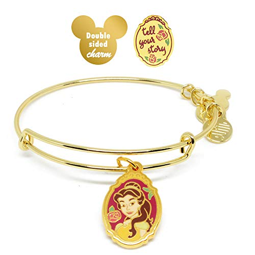 Alex and ANI Disney Parks Belle Tell Your Story - Double Sided Charm Bangle - Beauty and The Beast - Inspirational Quote - Charm Bracelet Jewelry Gift (Gold Finish)