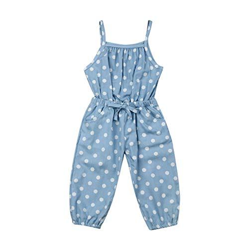 CIPOGL Baby Mädchen Wellen Punkt Bib Jeans Jumpsuit Overall Sommer Mädchen Ärmellos Strampler Playsuit Outfit Sommerkleidung (2-3 Jahre, Blau)