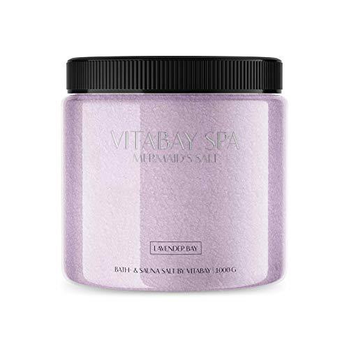 Vitabay Sauna- und Badesalz Lavender Bay 1000 g • Sanftes Körperpeeling • Whirlpool geeignet