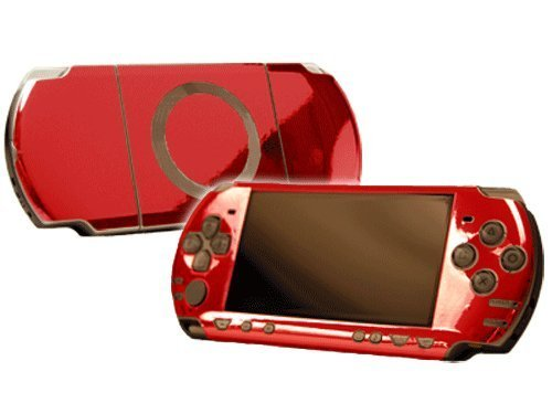 Red Chrome Mirror Vinyl Decal Faceplate Mod Skin Kit for Sony PlayStation Portable 2000 (PSP-Slim) Console by System Skins