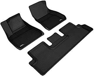 3D MAXpider L1TL00401509 Complete Set Series Black for Select Front and Second Row Kagu All-Weather Custom Fit Floor Mats for 2018-2019 Tesla Model 3