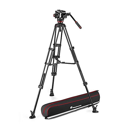 Manfrotto 504X Fluid Video Head with Twin Tripod, Kit with Aluminium Tripod and Video Head, Twin Leg with Middle Spreader, for DSLR, Digital Camera, Camcorder, Videographer, Payload 26.4 lbs