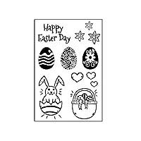 Yueding シリコーン クリア印鑑 スクラップブック, DIY プラスチックエンボスフォトアルバム 装飾用 スタンプ カード作成日記 工芸 贈り物 - イースターペンダントエッグバニー
