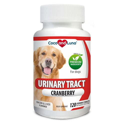 Cranberry for Dogs - Urinary Tract Support, Bladder Infections, Bladder Stones and Dog Incontinence - 120 Chew-able Tablets