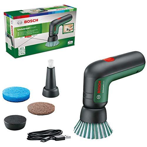 Bosch Cepillo de limpieza eléctrico UniversalBrush (incluye batería de 3,6 V integrada, 1 cargador micro USB y 4 accesorios de limpieza, en caja de cartón)