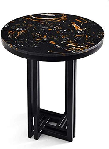 Tavolino da caffè, libreria a pavimento, tavolino rotondo per camera da letto, tavolo in marmo/supporto in metallo, finitura e conservazione Nero