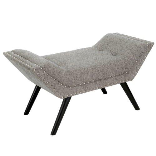 Best Selling Rosalynn fabric ottoman/bench, granite